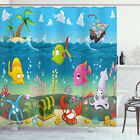 Kids Shower Curtain Sea Animals Underwater Print for Bathroom