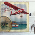 Adventure Shower Curtain Coastline Red Plane Print for Bathroom