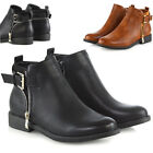 Womens Low Heel Buckle Zip Ankle Boots Ladies Chelsea Biker Low Heel Shoes Size