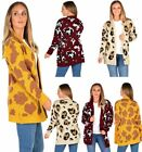 Womens Ladies Animal Leopard Print Knitted Cardigan Dress Open Front Sweater Top