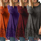 Women's Casual Long Sleeve Solid Loose Tunic Top Shirt Blouse Dress Plus Size