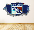 New York Rangers Wall Art Decal Hockey Team 3D Smashed Wall Decor WL37 $36.95 USD on eBay
