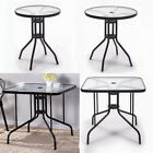 Outdoor Garden Patio Side Table Deck Coffee Round/square Glass Top Tea Tables Uk