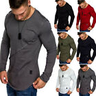 Thermal Men Slim Fit O Neck Long Sleeve Muscle Tee T-shirts Solid Tops Blouse US