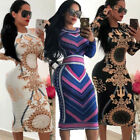 Fashion Womens Long Sleeve Print Bodycon Clubwear Cocktail Party Sexy Mini Dress