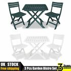 3 Piece Garden Bistro Set Plastic Folding Table And Chairs Kit Patio White/green
