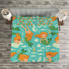 Mermaid Quilted Bedspread & Pillow Shams Set, Cartoon Character Sea Print image