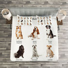 Colorful Quilted Bedspread & Pillow Shams Set, Puppy Breeds Family Print image