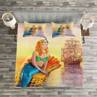 Mermaid Quilted Bedspread & Pillow Shams Set, Mythical Figure Ocean Print image