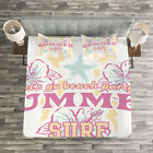 Pink Quilted Bedspread & Pillow Shams Set, Flowers Surf and Summer Print image