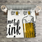 Quote Quilted Bedspread & Pillow Shams Set, Time to Drink Beer Man Print