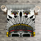 Skull Quilted Bedspread & Pillow Shams Set, Skull with Feathers Veil Print image