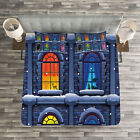 Colorful Quilted Bedspread & Pillow Shams Set, Snowy Winter Night Print image