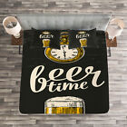 Modern Quilted Bedspread & Pillow Shams Set, Beer Time and Old Watch Print