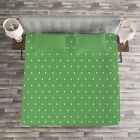 Green Quilted Bedspread & Pillow Shams Set, 60s Retro Vintage Dots Print image