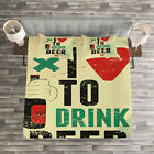 Quote Quilted Bedspread & Pillow Shams Set, Love Beer Grunge Hand Print
