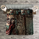Zombie Quilted Bedspread & Pillow Shams Set, Evil Eyes Monster Print image