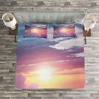 Sun Quilted Bedspread & Pillow Shams Set, Surreal Sky Fluffy Clouds Print image