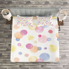 Pastel Quilted Bedspread & Pillow Shams Set, Watercolor Drops Artful Print image