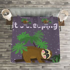 Sloth Quilted Bedspread & Pillow Shams Set, Cute Cartoon Character Print image