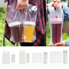 50Pcs One/Two Cups Beverage Carry Out Clear Plastic Packaging Bags Pouches