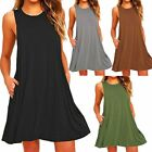 Women's Casual Swing Sundress Sleeveless Solid Loose T-Shirt Dress with Pocket-