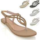 WOMENS FLAT T-BAR DIAMANTE SPARKLY LADIES SLINGBACK TOE POST SANDALS SHOES SIZE