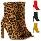 Womens Sock Fit Ankle Boots Ladies High Heel Faux Suede Peep Toe Party Shoes 3-8