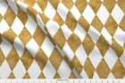 Harlequin Diamonds ~ White And Gilt ~ Mosaic  Fabric Printed By Spoonflower BTY