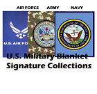 US Military Emblem Logo Plush Blanket Queen Size - Navy/Air Force image
