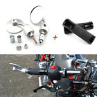 """Chrome Motorcycle 7/8"""" Bar End Rearview Mirrors Hand Grips For Bobber Cafe Racer"""