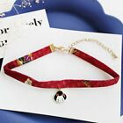 Japanese Style Ribbon Rope Doll Chocker Bird Pendant Short Necklace Jewelry