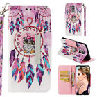 For Huawei P Smart Y9 Y7 Painted Leather Stand Card Wallet With Strap Case Cover