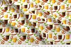Octoberfest Beer, Bratz, Hops and Pretzles Fabric Printed by Spoonflower BTY
