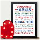 PERSONALISED Grandparents HOUSE RULES WALL SIGN Christmas Gifts Nanny Grandad