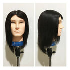 Charm Men Beauty Salon Human Hair Mannequin Practice Training Head Hairdressing
