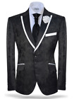 Angelino Accent Men's Two Button Modern Fit Small Drop Blazer Sport Coat Black