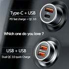 36W Dual USB Car Charger QC 3.0 Fast Charge USB Type-C PD Fast Car Charger