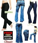 Dickies Girl /Women's Relaxed Slim Bootcut Stretch Blue Denim Jeans Pants .NEW.