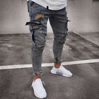 Men Ripped Biker Skinny Jeans Frayed Destroyed Trousers Casual Denim Pants S-XL