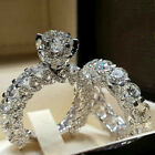 US Women White Sapphire Silver Ring Set Wedding Engagement Jewelry Gift Sz5-12 image