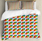 Umbrella Duvet Cover Set with Pillow Shams Rainbow Colored Canopy Print image