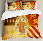 Detroit Duvet Cover Set with Pillow Shams Old Symbol Rusty Look Print