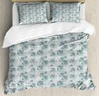 Abstract Duvet Cover Set with Pillow Shams Lilac Doodle Leaves Print image