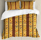 Egyptian Duvet Cover Set with Pillow Shams Ancient Hieroglyphs Print image