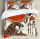 Egyptian Duvet Cover Set with Pillow Shams Old Language Symbol Print image
