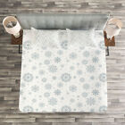 Winter Quilted Bedspread & Pillow Shams Set, Ornate Snowflake Motifs Print image
