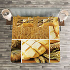 Harvest Quilted Bedspread & Pillow Shams Set, Wheat Stages Collage Print image
