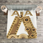 Letter A Quilted Bedspread & Pillow Shams Set, Steampunk Capital A Print