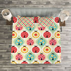Kids Quilted Bedspread & Pillow Shams Set, Ladybugs Retro Cartoon Print image